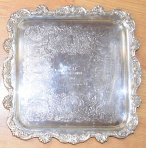 Old English Poole 5915 Square Footed Tray 14 Silverplate Server Horse 1984