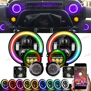 Rgb For Jeep Wrangler Jk 07 17 Halo Led Headlight Fog Turn Fender Lamp Combo Kit