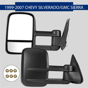 Towing Mirror Manual Textured Black Pair Set For Chevy Gmc 1500 Pickup Truck