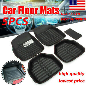 Auto Car Floor Mats For All Weather Rubber Liners Heavy Duty Black 5pc Pack Us