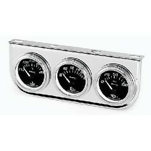 Equus 2 Inch Chrome Black Faced Mechanical Triple Gauge Kit With Volt Equus 7200