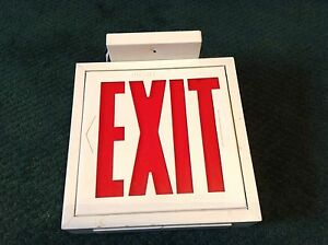 Vintage Lighted Exit Sign Top Mounted With Wires 9 1 4 X 8 1 2