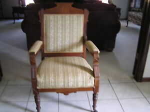 Antique Victorian Eastlake Side Arm Chair Upholstered Carved Wood