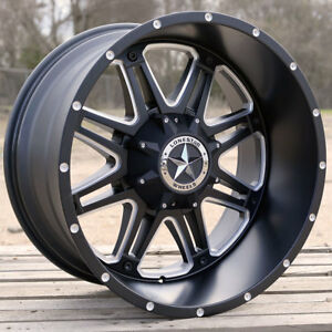 22 Matte Black Lonestar Outlaw Wheels 22x12 6x135 44mm Ford F150 Expedition