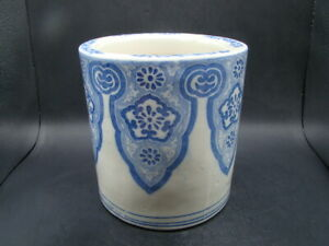 Japanese 1920 S Nice Big Blue White Brush Pot U8763