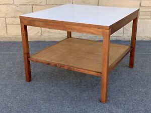 Mid Century Danish Modern Square Walnut Cane Formica Coffee Table 26