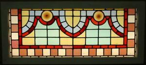Old English Leaded Stained Glass Window Transom Victorian Geometric 36 X 15 75