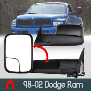 Fit 1998 01 Dodge Ram 1500 2500 3500 Flip Up Power Heated Turn Tow Mirrors Side