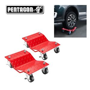 Pentagon Tool Premium 2 Pack Car Tire Dolly Tire Skates Red