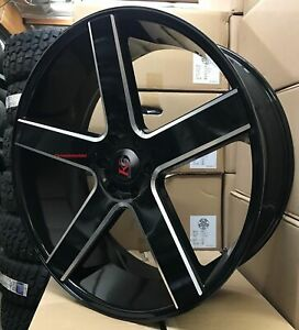 28 K9 Baller Wheels Tires Black Milled Silverado Avalanche Suburban Sierra New