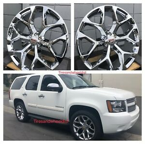 22 Gmc Sierra Snowflake Wheels Tires Chrome Tahoe Suburban Silverado Tpms New