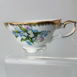 Bone China Tea Cup White Colorful Flowers Gold Trim Collectible Made In Japan