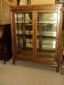 Antique Oak Claw Foot China Display Cabinet