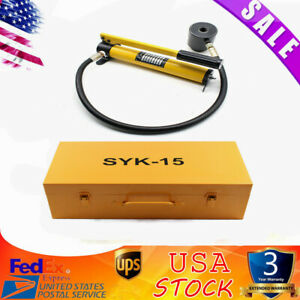 New 15 Ton Hydraulic Knockout Punch Driver Kit 10 Dies Hand Pump Hole Tool
