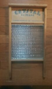 Vintage Crystal Cascade Columbus Washboard Co Wood Glass No 2080 Standard Size