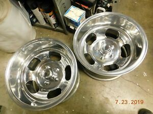 Polished 15x10 Slot Mag Wheels Ford Dodge Mags Mopar Chevy Truck 5 On 5 Van Gmc