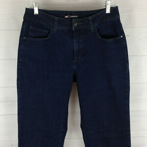 Lee womens size 10 stretch blue dark wash mid rise straight classic fit jeans