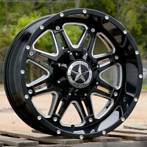 20 Black Cnc Edges Lonestar Outlaw Wheels 20x10 8x6 5 25 Chevy Dodge 2500 3500