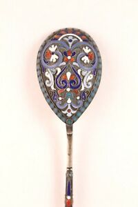 Antique Gustov Klingert 84 Enamel Silver Spoon Decorated