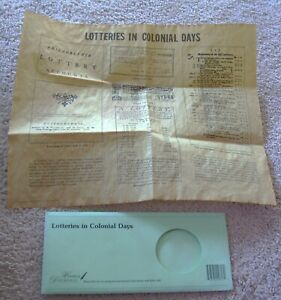 Lotteries In Colonial Days Historical Documents Co Reproduction On Parchment