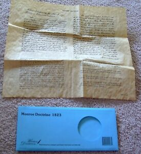 Monroe Doctrine 1823 Historical Documents Co Reproduction On Parchment Nwot