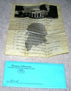 Thomas Jefferson S A Dozen Canons Of Conduct In Life Historical Documents Co