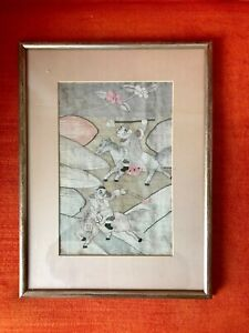 Antique Early 20th Chinese Silk Kesi Tapestry Panel With Frame