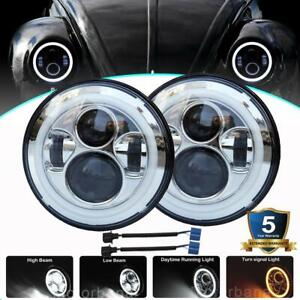 Pair 7 Inch Round Led Headlights Halo Turn Signal Chrome For Volkswagen Beetle