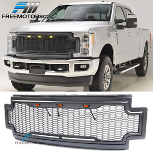Fits 17 19 Ford F250 F350 Super Duty Led Honeycomb Mesh Front Bumper Grille Abs