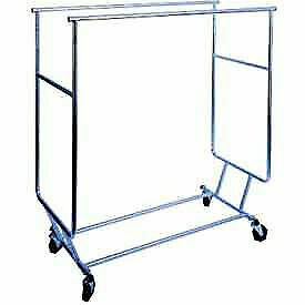 Collapsible Rolling Garment Rack Rcs 3 W Double Rail Round Tubing Chrome 1