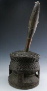 19th Century African Tribal Hand Carved Wood Large Scale Mortar