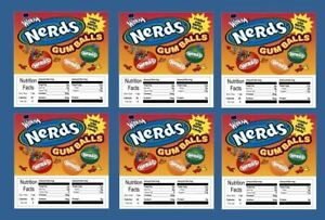 6 Product Vending Machine Candy Stickers Labels With Nutrition Nerd Gumball