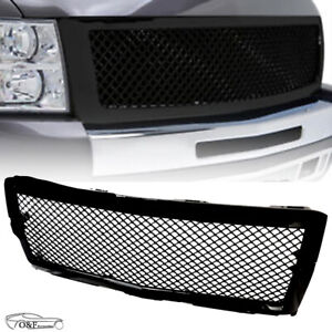 For 2014 2015 Chevy Silverado 1500 New Gloss Black Front Hood Mesh Grille