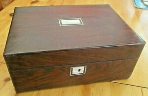 Antique Victorian Empty Rosewood Box Ideal Sewing Work Box Jewellery Box Etc