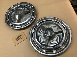 Pair Of 14 Knockoff Tri Bar Spinner Hubcaps 1965 66 Chevy Impala Corvair