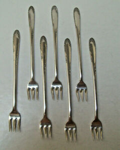 S L G H Rogers Silverplate 1949 English Garden 7 Seafood Cocktail Forks