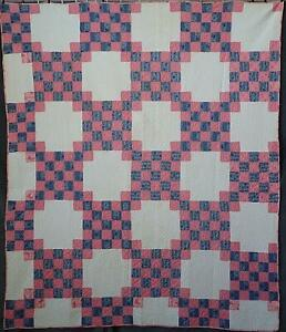 Incredible Quilting Antique C1880 Double Pink Blue Checkerboard Quilt 70x59