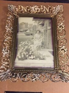 Vintage 1940s Filigree Gold Tone White Washed Metal Picture Frame 5x7