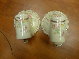 Antique Vintage Porcelier Art Deco Porcelain Floral Pattern Pair Of Wall Sconces