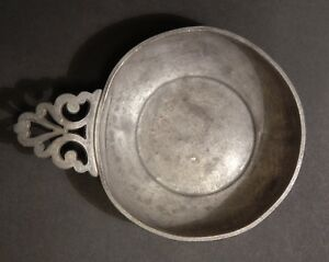 Antique Early American Hand Made Pewter Porringer Bowl Unmarked