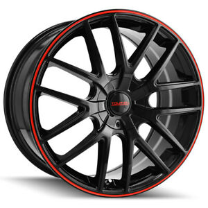 4 touren Tr60 16x7 4x108 5x108 42mm Black red Wheels Rims 16 Inch