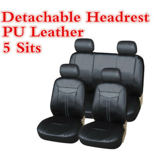 Black Luxury Pu Leather Smooth Feel Cool Car Seat Cover Separate Headrest Cover