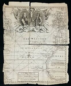 Antique Original 1740 Map Atlantic Slave Trade With West Indies Emanuel Bowen