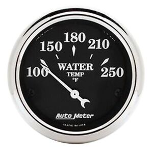 Autometer 1737 Old Tyme Blk Water Temperature Gauge 2 1 16 100 250 Deg F