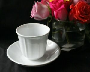 Antique White Ironstone Staffordshire Handleless Cup Saucer Plate 19th Century