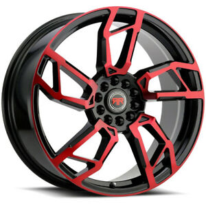 4 Revolution R22 20x8 5x105 5x114 3 40mm Black Machined Red Wheels Rims