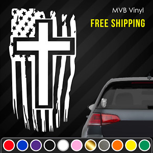 Distressed Tattered American Flag Cross Vinyl Decal Sticker Ripped Jesus God 761