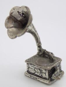 Vintage Solid Silver Italian Made Gramophone Miniature Figurine Stamped