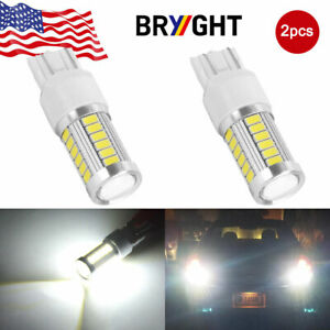 2x White 7443 7440 33smd Tail Brake Stop High Power Led Bulbs 6000k 12v