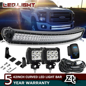 For 2017 2019 Ford F250 F350 Super Duty 40 42 Curved Led Light Bar Lower Bumper